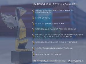 """Kategorie 16. edycji Konkursu """"Dolnośląski Gryf – Nagroda Gospodarcza"""""""