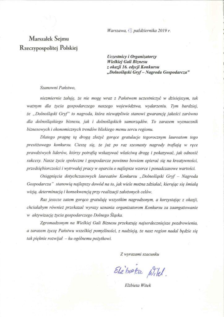 List od Marszałek Sejmu RP